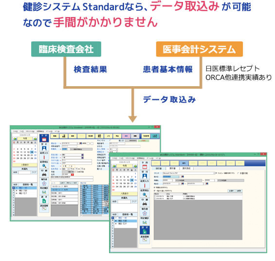 健診システム StandardNEOなら、データ取込みが可能なので手間がかかりません